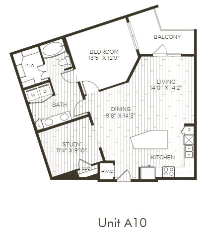 Aura Old Town A10 One Bedroom One Bathroom Floor Plan