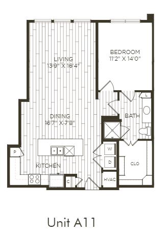Aura Old Town A11 One Bedroom One Bathroom Floor Plan