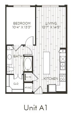 Aura Old Town A1 One Bedroom One Bathroom Floor Plan