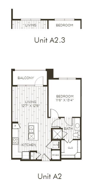 Aura Old Town A2.3 One Bedroom One Bathroom Floor Plan