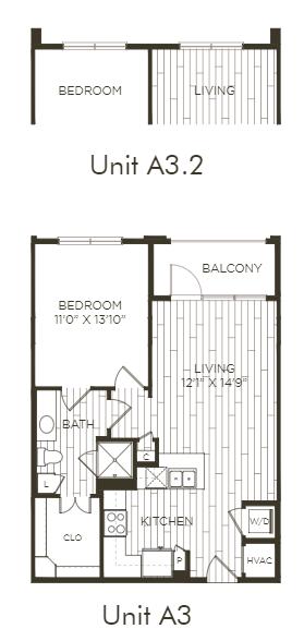 Aura Old Town A3.2 One Bedroom One Bathroom Floor Plan