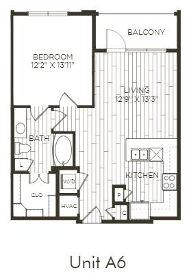 Aura Old Town A6 One Bedroom One Bathroom Floor Plan