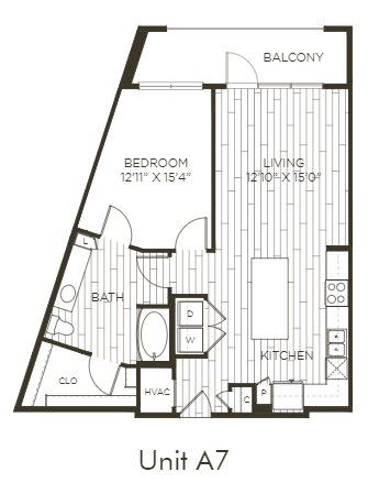 Aura Old Town A7 One Bedroom One Bathroom Floor Plan