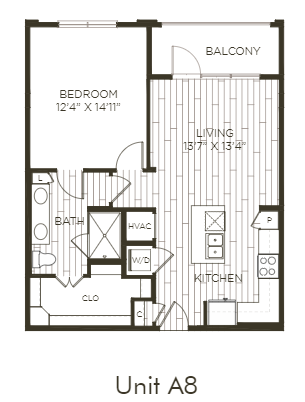 Aura Old Town A8.1 One Bedroom One Bathroom Floor Plan
