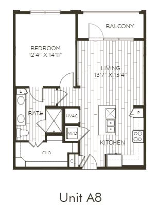 Aura Old Town A8.2 One Bedroom One Bathroom Floor Plan