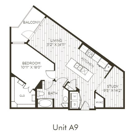 Aura Old Town A9 One Bedroom One Bathroom Floor Plan
