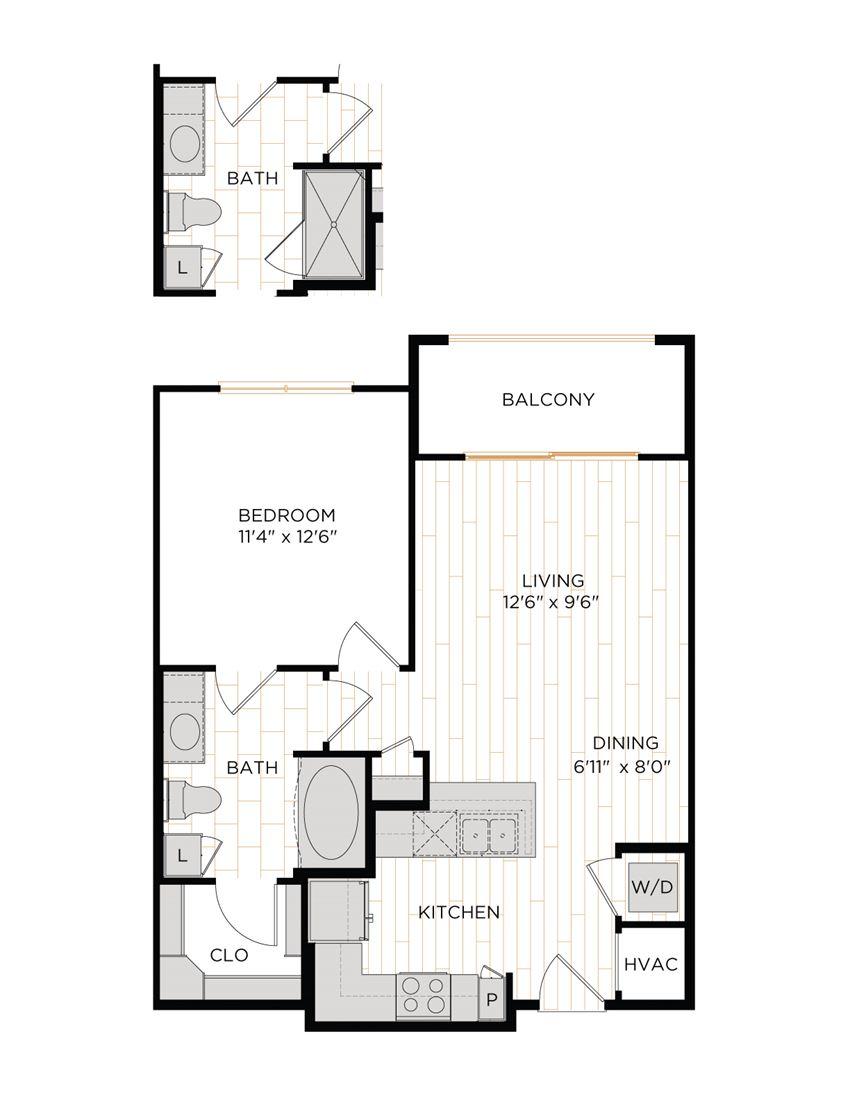 Aura 36Hundred A2 One Bedroom One Bathroom Floor Plan