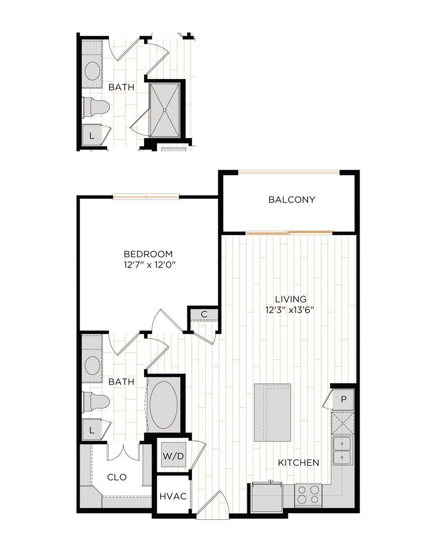 Aura 36Hundred A3 One Bedroom One Bathroom Floor Plan