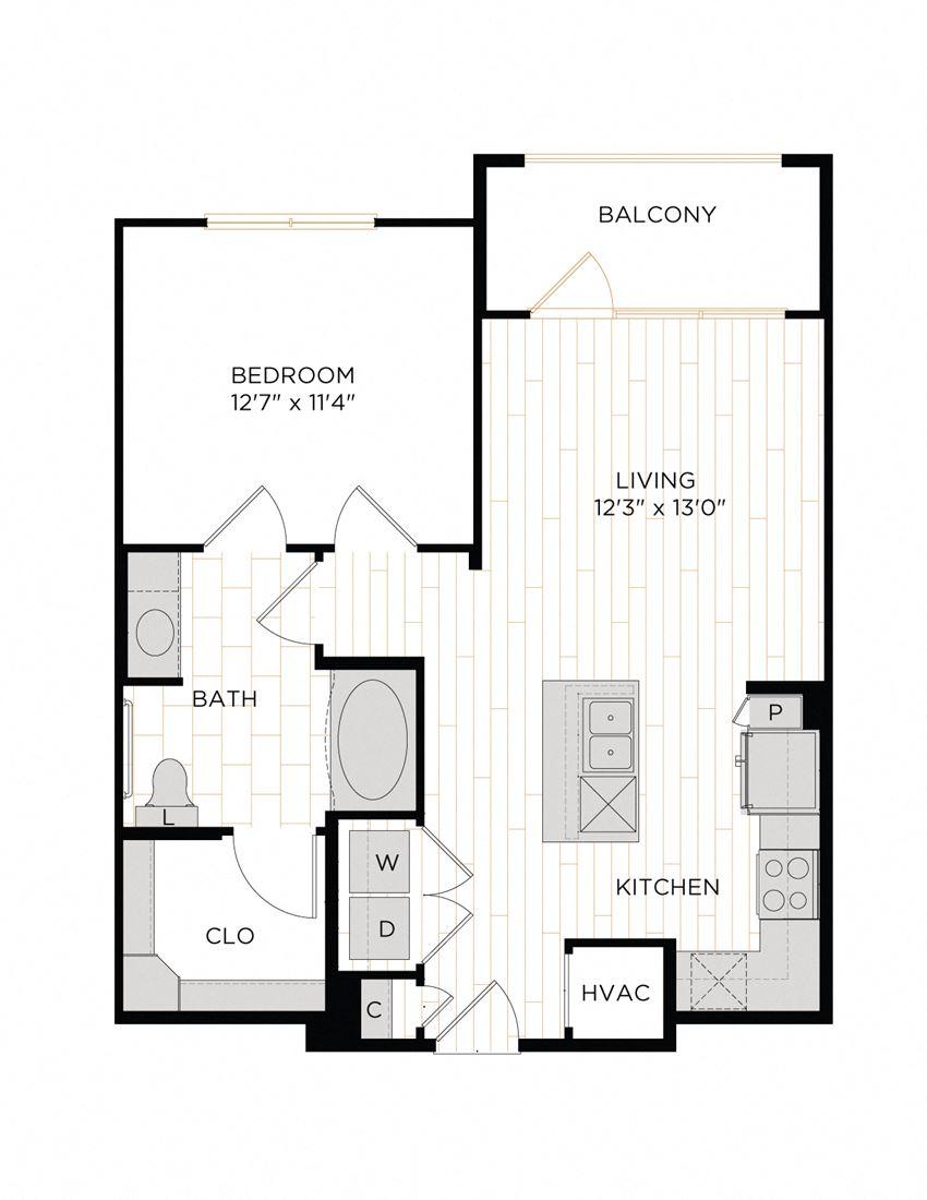 Aura 36Hundred A3.1 One Bedroom One Bathroom Floor Plan