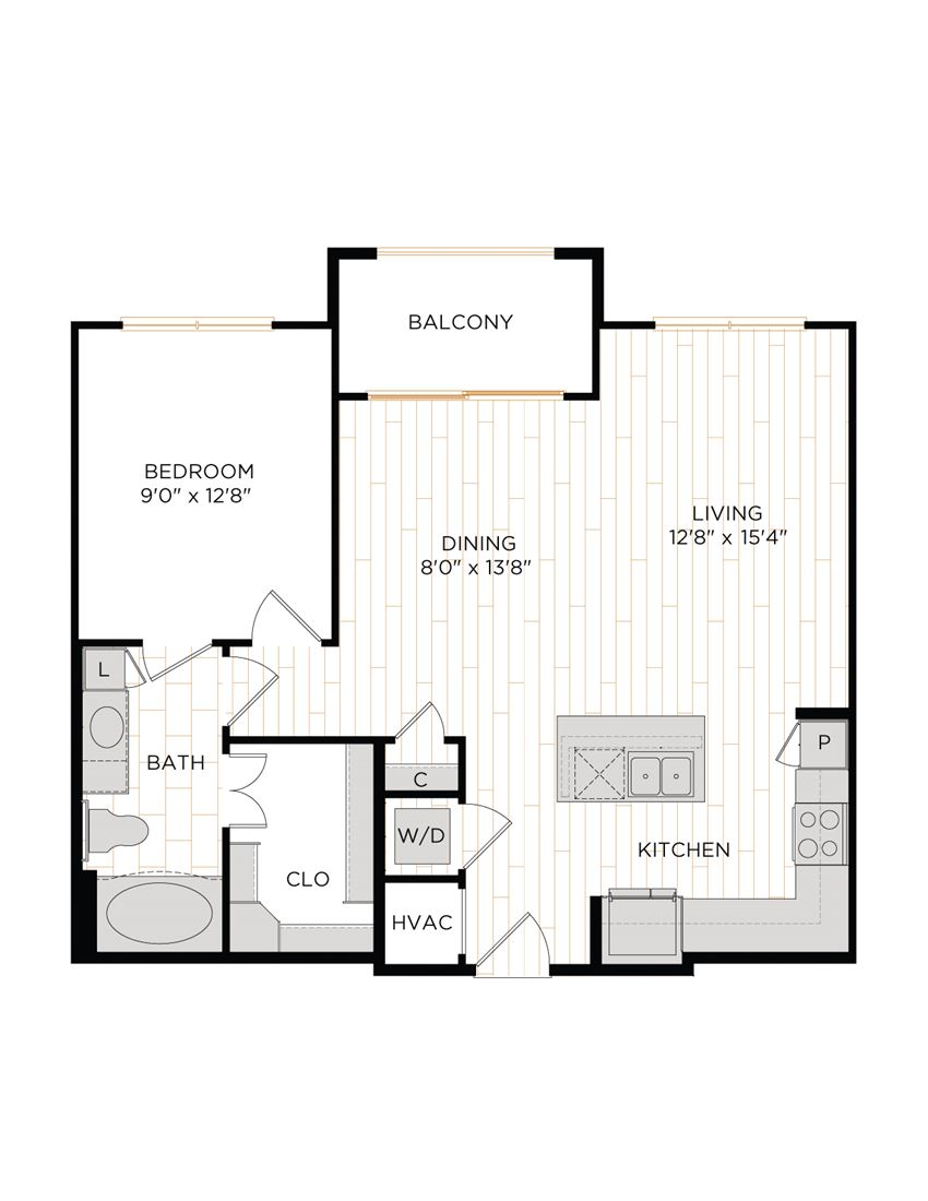 Aura 36Hundred A5 One Bedroom One Bathroom Floor Plan