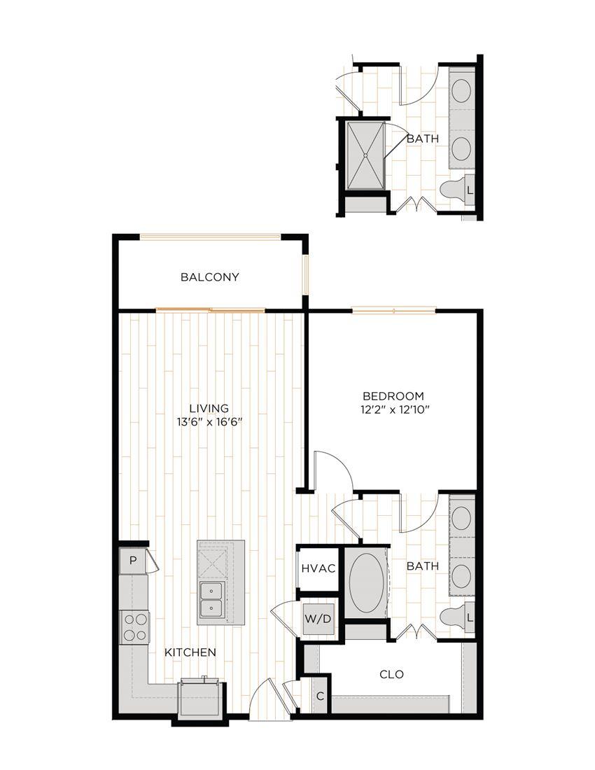 Aura 36Hundred A6 One Bedroom One Bathroom Floor Plan