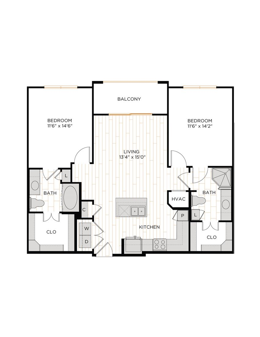Aura 36Hundred B2 Two Bedroom Two Bathroom Floor Plan