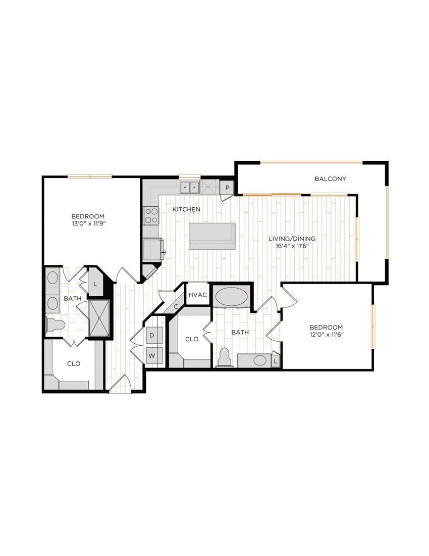 Aura 36Hundred B3 Two Bedroom Two Bathroom Floor Plan