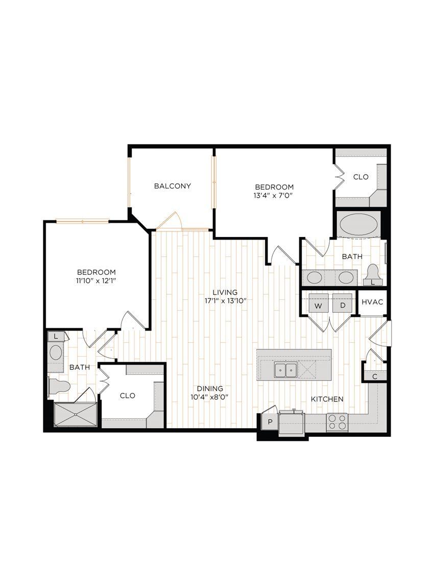 Aura 36Hundred B4 Two Bedroom Two Bathroom Floor Plan