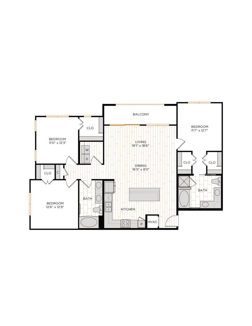 Aura 36Hundred C1 Three Bedroom Two Bathroom Floor Plan