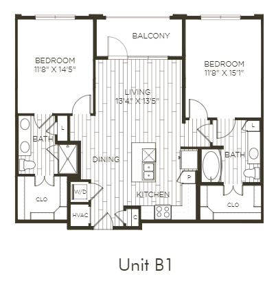 Aura Old Town B1 Two Bedroom Two Bathroom Floor Plan