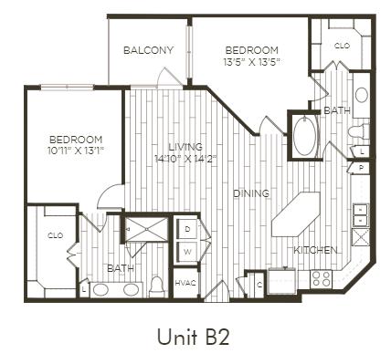 Aura Old Town B2 Two Bedroom Two Bathroom Floor Plan