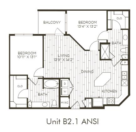 Aura Old Town B2.1 ANSI Two Bedroom Two Bathroom Floor Plan