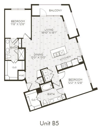 Aura Old Town B5 Two Bedroom Two Bathroom Floor Plan