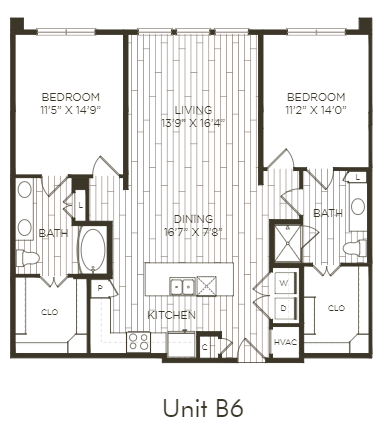 Aura Old Town B6 Two Bedroom Two Bathroom Floor Plan