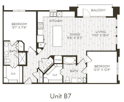 Aura Old Town B7 Two Bedroom Two Bathroom Floor Plan