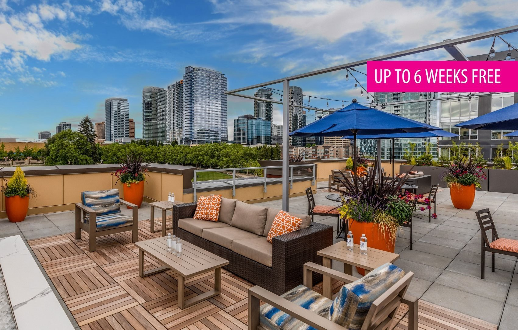 BLU Bellevue Apartments Rooftop Courtyard with 6 Weeks Free Banner