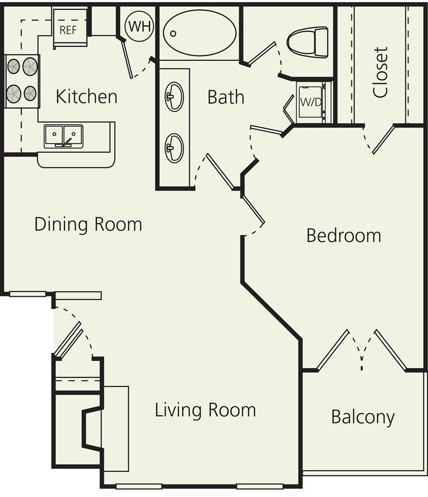 The Carlton Apartments B Floor Plan