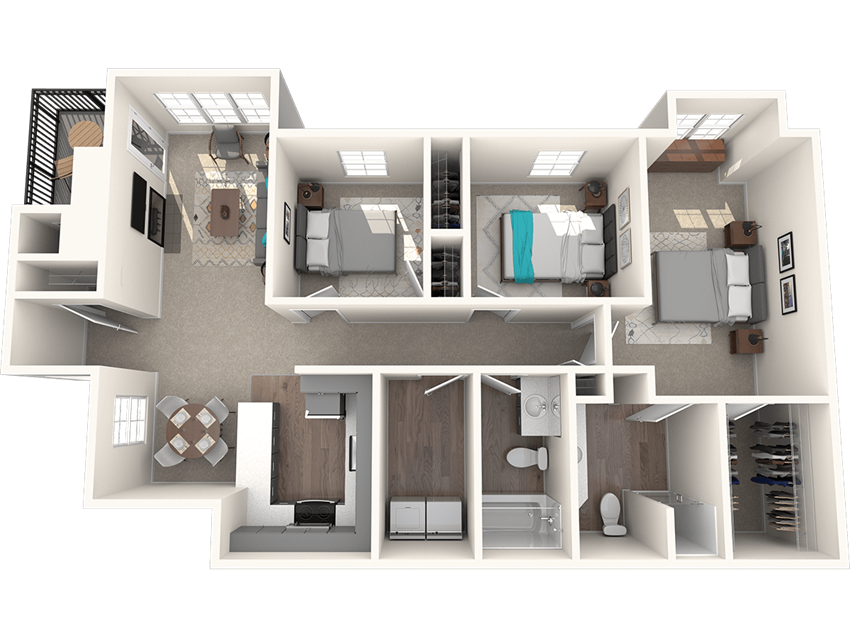 Passage Apartments Cascade 3 Bedroom 2 Bathroom Floor Plan