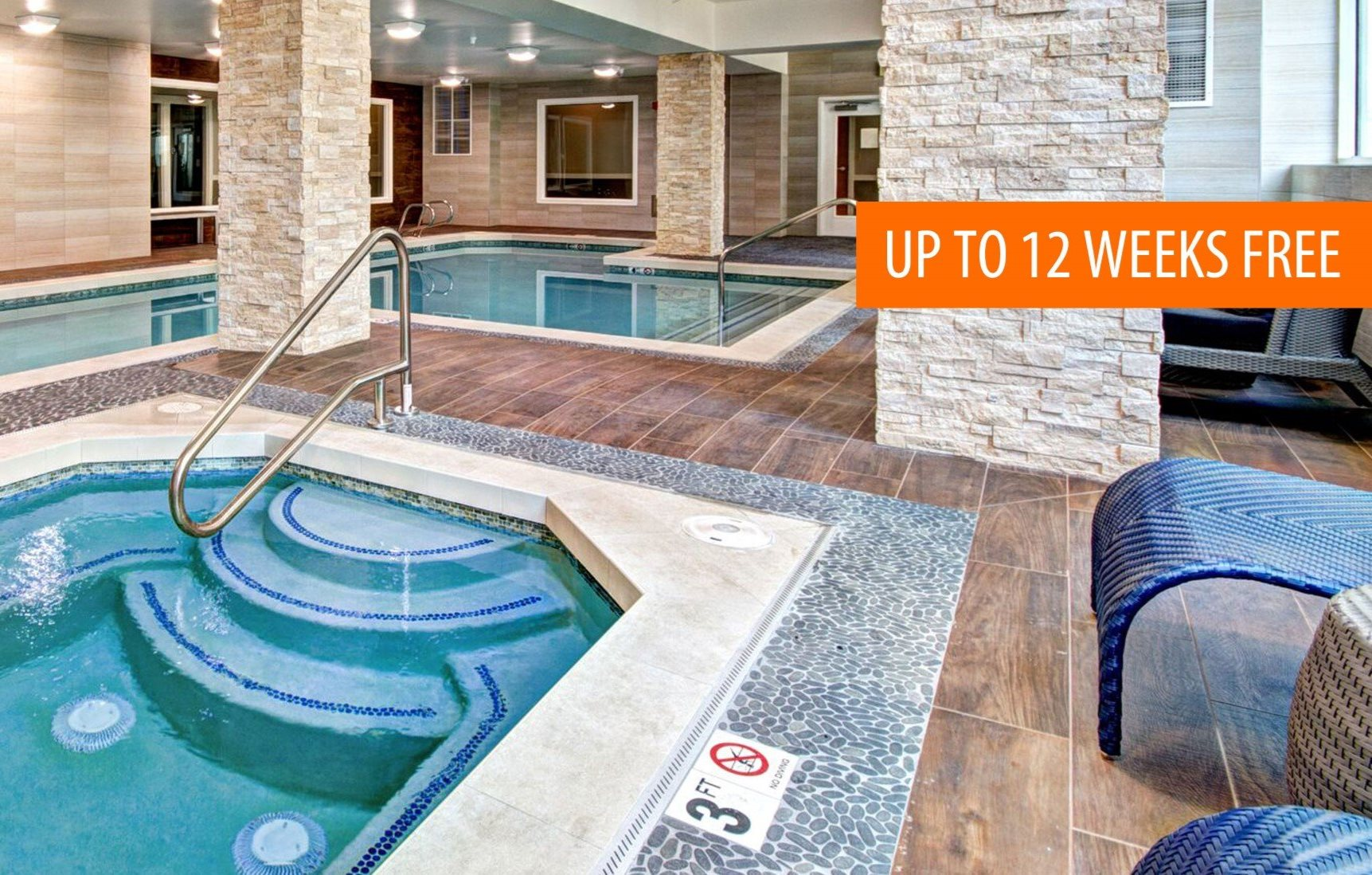Met Tower Apartments Indoor Pool and Spa with 12 Weeks Free Banner