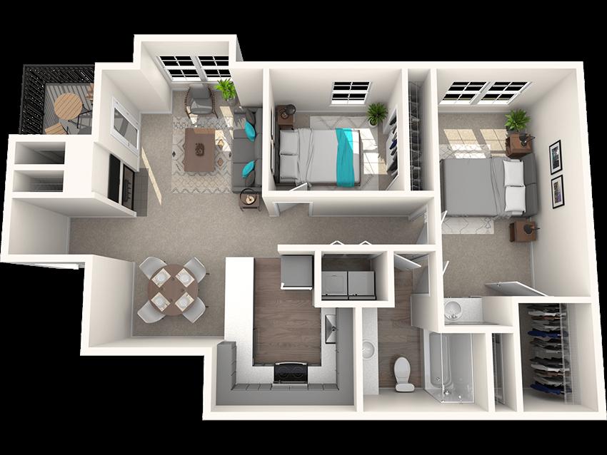 Passage Apartments Riveridge 2 Bedroom 1 Bathroom Floor Plan