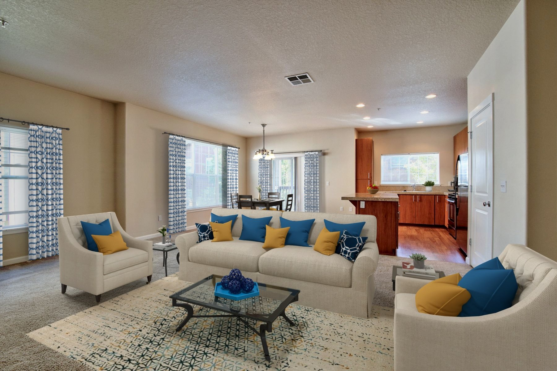 Springwater Crossing Apartments staged living room