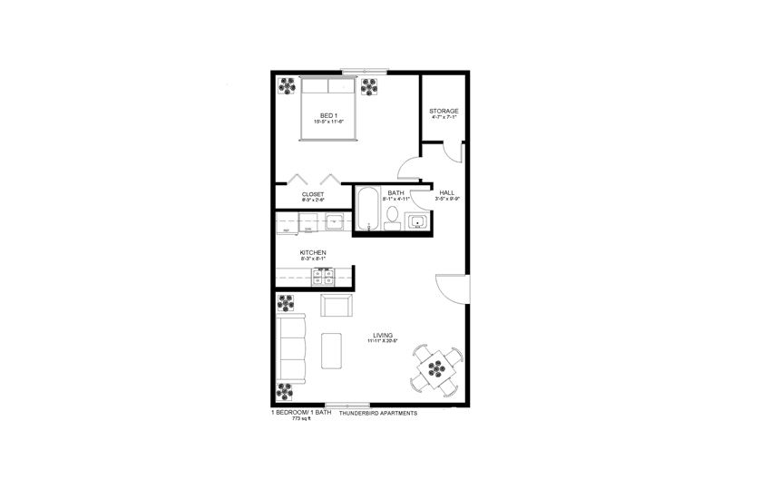 Thunderbird Apartments 1x1 Floor Plan