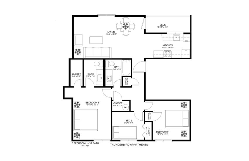 Thunderbird Apartments 3x1.5 Floor Plan