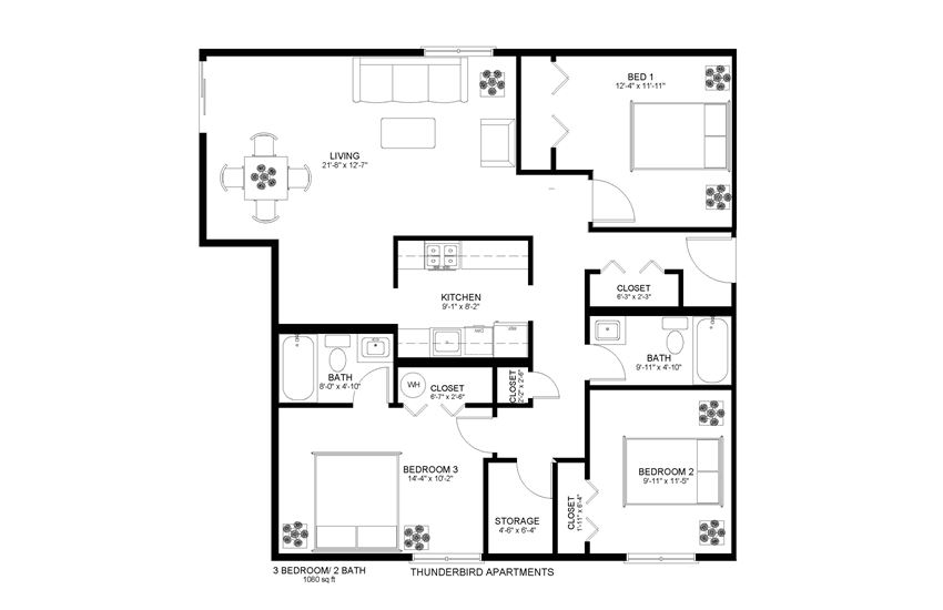 Thunderbird Apartments 3x2 Floor Plan