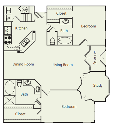 The Carlton Apartments Two Bedroom Two Bathroom E Floor Plan