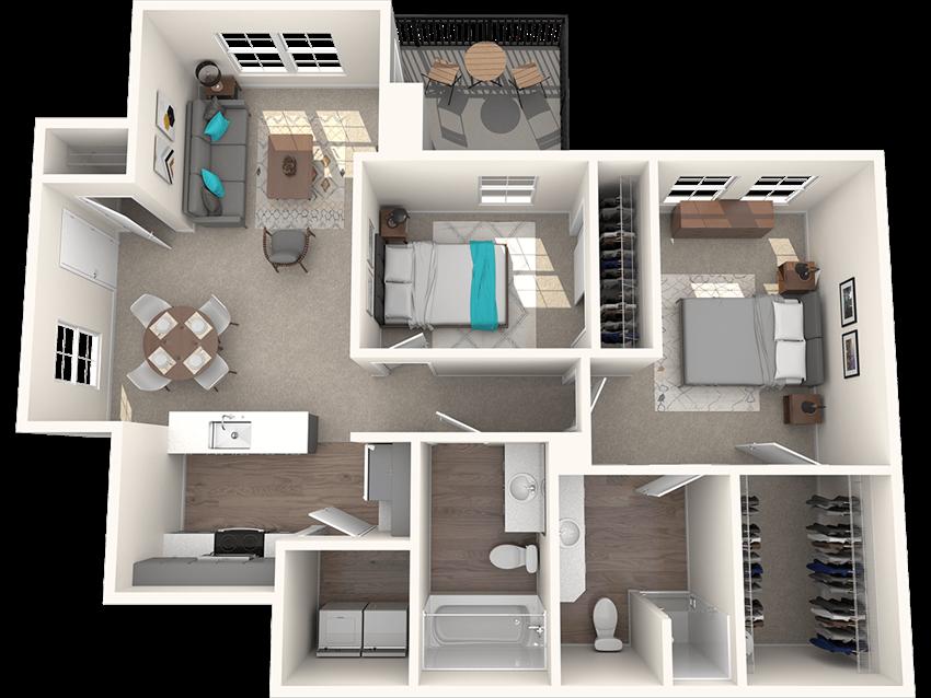 Passage Apartments Wildwood 2 Bedroom 2 Bathroom Floor Plan