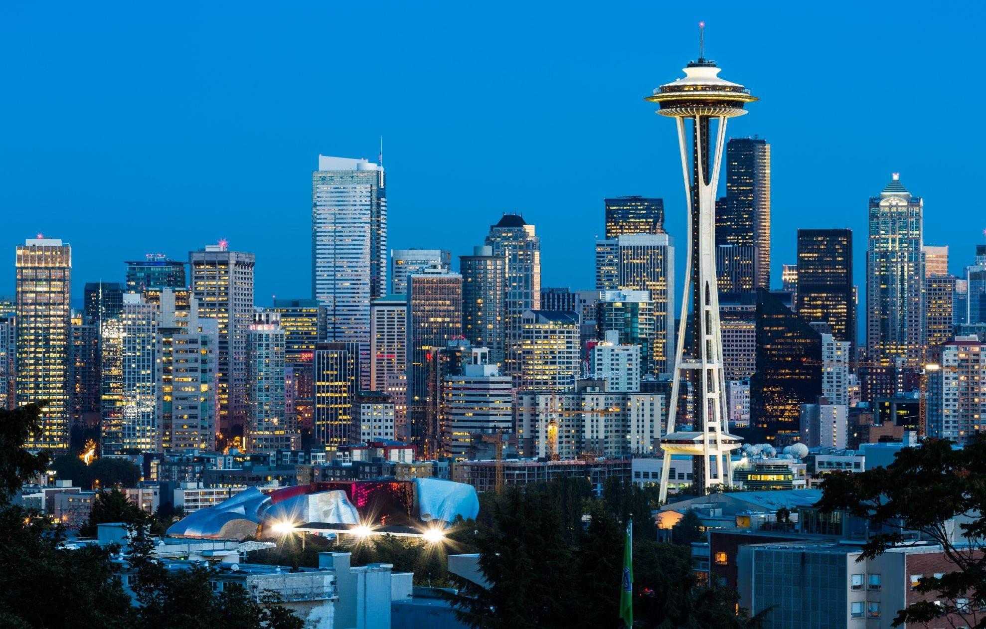 City Skyline View of Downtown Seattle, Washington