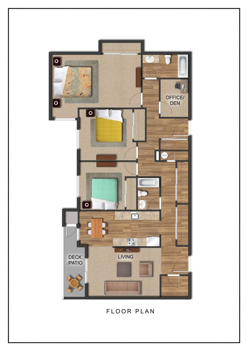 The Galleria Apartments 3 Bedroom Floor Plan