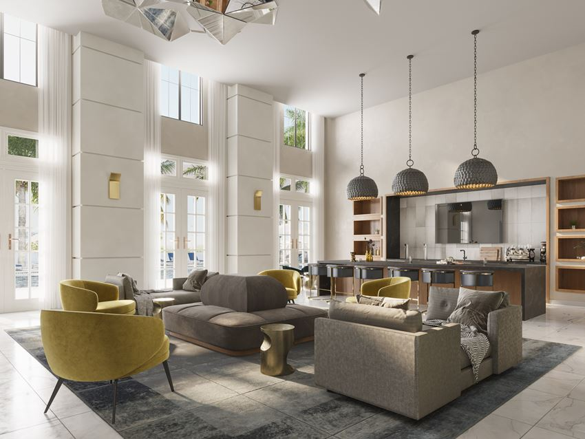 Seating and kitchen areas in the resident clubhouse at Indigo in West Palm Beach