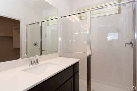 Mesa, AZ Luxury Apartments - Hampton East Bathroom with Glass Door Standing Shower and Large Single Sink Vanity
