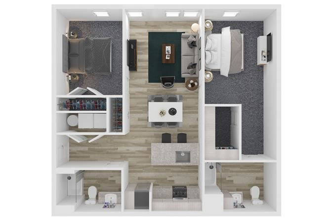 A2 Two Bedroom Two Bathroom Floor Plan at The Clara, Eagle, 83616