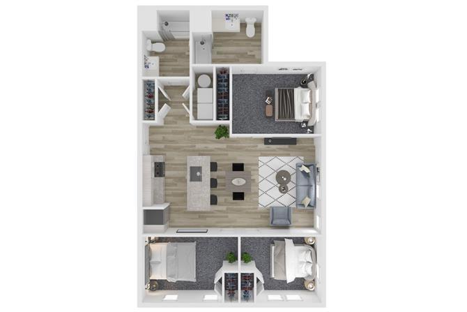 A3 Three Bedroom Two Bathroom Floor Plan at The Clara, Eagle, Idaho