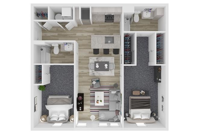 B2 Two Bedroom Two Bathroom Floor Plan at The Clara, Idaho
