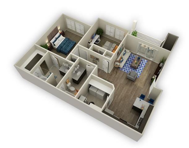2 Bedroom 2 Bathroom Floor Plan at Alloy at Geneva, Utah