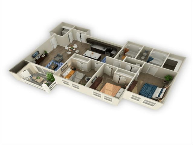 3 Bed, 2 Bath Floor Plan at Alloy at Geneva, Vineyard