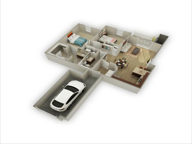 2 Bed 2 Bath Floor Plan at Alloy at Geneva, Vineyard, UT, 84058