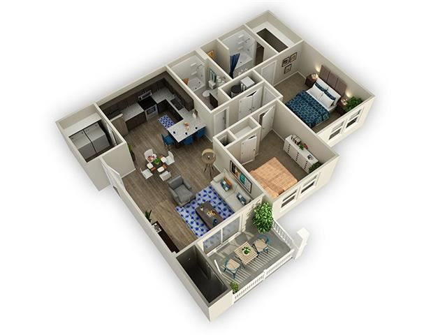 2 Bed 2 Bath Floor Plan at Alloy at Geneva, Vineyard