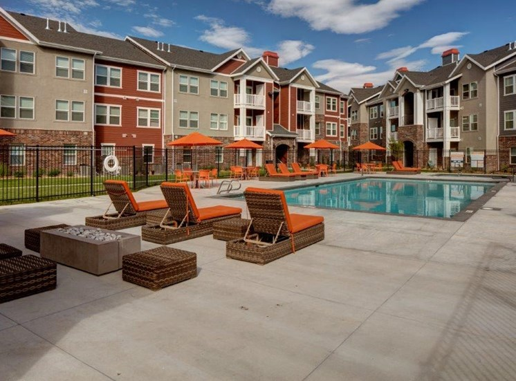 Extensive Resort Inspired Pool Deck at Alloy at Geneva, Utah