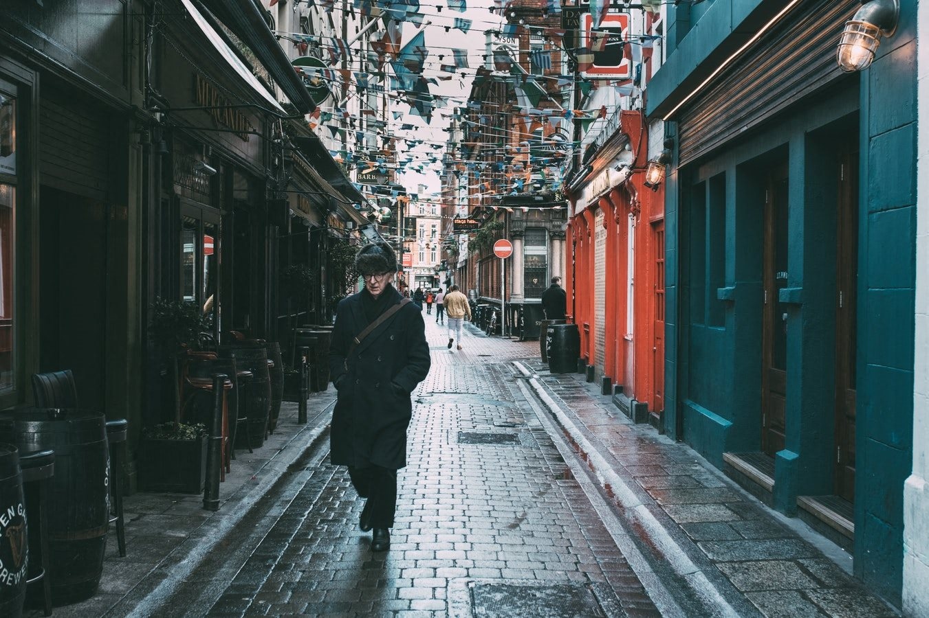 Rainy Walkway and colorful buildings