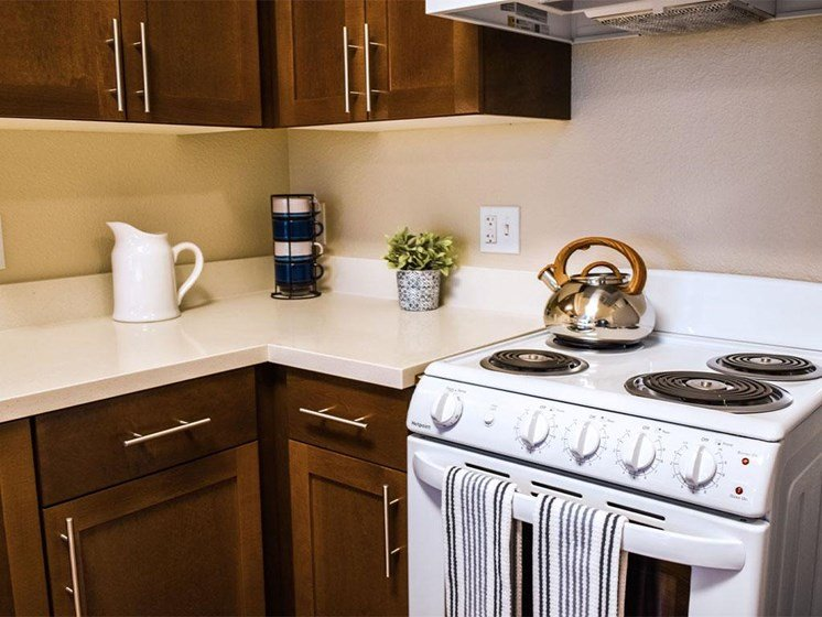 Electric Range In Kitchen at Westmont of Milpitas, Milpitas, California